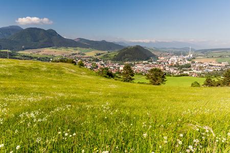 ruzomberok: View of the cityscape of Ruzomberok from the mountain Malino Brdo in Slovakia on June 4, 2015 Editorial