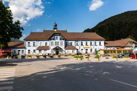 ruzomberok: RUZOMBEROK, SLOVAKIA - June 1, 2015: Exterior view of the main railway station in Ruzomberok, Slovakia on June 1, 2015. It was opened on December 8, 1871. Editorial