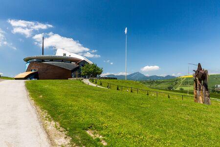 ruzomberok: VYSNY SLIAC, SLOVAKIA - JUNE 4, 2015: View of the Modern art church of Vysny Sliac on June 4, 2015. Vysny Sliac is a small village near Ruzomberok in Slovakia. Editorial
