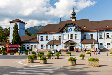 bloc: RUZOMBEROK, SLOVAKIA - June 1, 2015: Exterior view of the main railway station in Ruzomberok, Slovakia on June 1, 2015. It was opened on December 8, 1871. Editorial