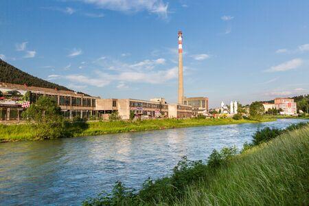 renewed: RUZOMBEROK, SLOVAKIA - JUNE 3: View to the Texicom areal, a historical factory building on June 3, 2015. Ruzomberok is a town in northern Slovakia, in the historical Liptov region.