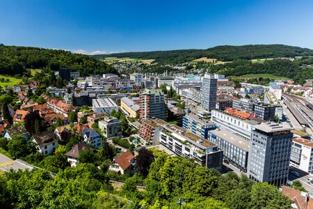 aargau: BADEN, AARGAU, SWITZERLAND - JUNE 30, 2015: View to the new city part of Baden on June 30, 2015. Baden is a municipality in the Swiss canton of Aargau, located 25 km (16 mi) northwest of Zurich.