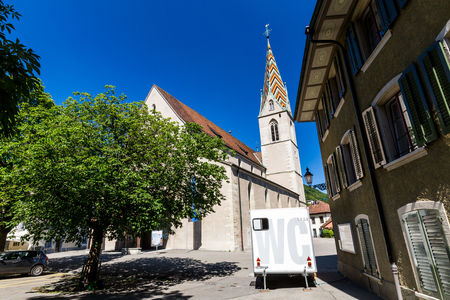 aargau: BADEN, AARGAU, SWITZERLAND - JUNE 30, 2015: Exterior views of the Church in old town part of Baden on June 30, 2015. Baden is a municipality in the Swiss canton of Aargau.