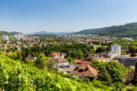 aargau: BADEN, AARGAU, SWITZERLAND - JUNE 30, 2015: Vineyard from top to the city of Baden on June 30, 2015. Baden is a municipality in the Swiss canton of Aargau, located 25 km (16 mi) northwest of Zurich. Editorial