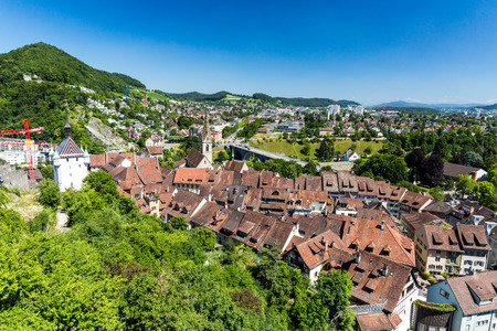 aargau: BADEN, AARGAU, SWITZERLAND - JUNE 30, 2015: Typical view from top to the city of Baden on June 30, 2015. Baden is a municipality in the Swiss canton of Aargau, located 25 km (16 mi) northwest of Zurich. Editorial