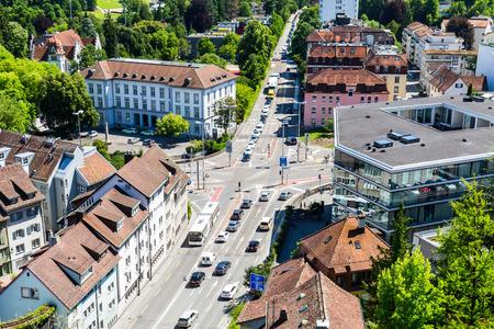 ag: BADEN, AARGAU, SWITZERLAND - JUNE 30, 2015: View to the Schulhausplatz of Baden on June 30, 2015. Baden is a municipality in the Swiss canton of Aargau, located 25 km (16 mi) northwest of Zurich.