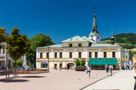 renewed: DOLNY KUBIN, SLOVAKIA - JUNE 5, 2015: Exterior view of the buildings in the city centre of Dolny Kubin, Slovakia on June 5, 2015. It is the historical capital of the Orava region. Editorial