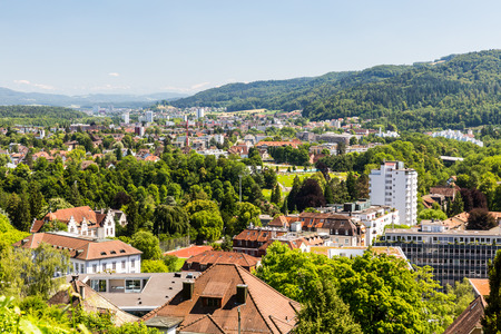 ag: BADEN, AARGAU, SWITZERLAND - JUNE 30, 2015: Vineyard from top to the city of Baden on June 30, 2015. Baden is a municipality in the Swiss canton of Aargau, located 25 km (16 mi) northwest of Zurich. Editorial
