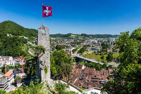 ag: BADEN, AARGAU, SWITZERLAND - JUNE 30, 2015: View from Ruin Stein to the city of Baden on June 30, 2015. Baden is a municipality in the Swiss canton of Aargau, located 25 km (16 mi) northwest of Zurich.