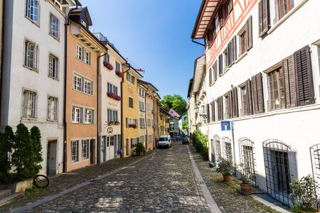 renewed: BADEN, AARGAU, SWITZERLAND - JUNE 30, 2015: Exterior views of the old town part of Baden on June 30, 2015. Baden is a municipality in the Swiss canton of Aargau, located 25 km (16 mi) northwest of Zurich.