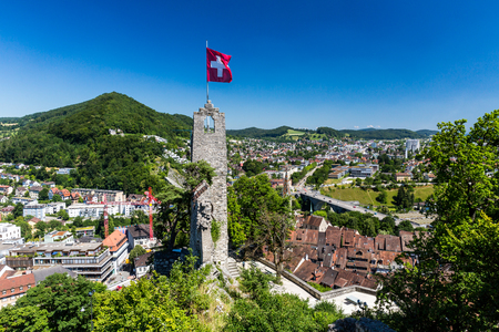 aargau: BADEN, AARGAU, SWITZERLAND - JUNE 30, 2015: View from Ruin Stein to the city of Baden on June 30, 2015. Baden is a municipality in the Swiss canton of Aargau, located 25 km (16 mi) northwest of Zurich.