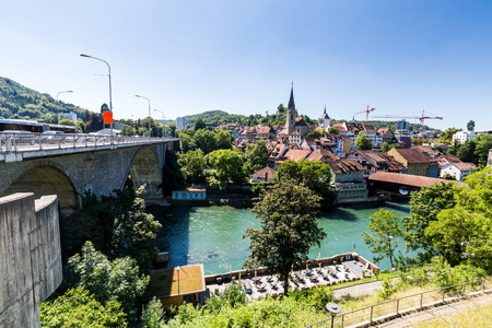 aargau: BADEN, AARGAU, SWITZERLAND - JUNE 30, 2015: Typical view from Wettingen side to the city of Baden on June 30, 2015. Baden is a municipality in the Swiss canton of Aargau.