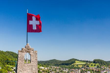 BADEN, AARGAU, SUISSE - 30 juin 2015: Vue de Ruin Stein à la ville de Baden le 30 Juin 2015. Baden est une commune suisse du canton d'Argovie, situé à 25 km (16 mi) au nord-ouest de Zurich.