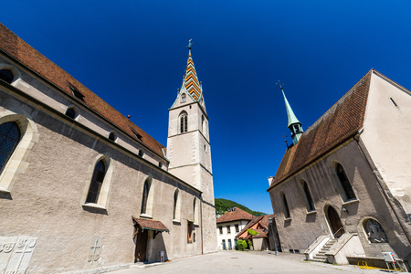 ag: BADEN, AARGAU, SWITZERLAND - JUNE 30, 2015: Exterior views of the Church in old town part of Baden on June 30, 2015. Baden is a municipality in the Swiss canton of Aargau.