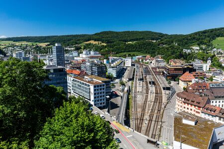 ag: BADEN, AARGAU, SWITZERLAND - JUNE 30, 2015: View to the new city part of Baden on June 30, 2015. Baden is a municipality in the Swiss canton of Aargau, located 25 km (16 mi) northwest of Zurich.