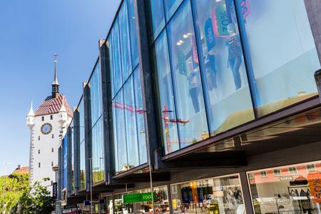 aargau: BADEN, AARGAU, SWITZERLAND - JUNE 30, 2015: Exterior views of the tower Stadtturm in Baden on June 30, 2015. Baden is a municipality in the Swiss canton of Aargau, located 25 km (16 mi) northwest of Zurich.