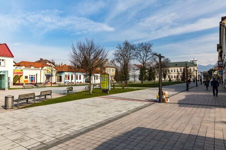 stefanik: MARTIN, SLOVAKIA - MARCH 31, 2015: Exterior views of buildings in the city center of the small city of Martin. Martin is located in the north of Slovakia.