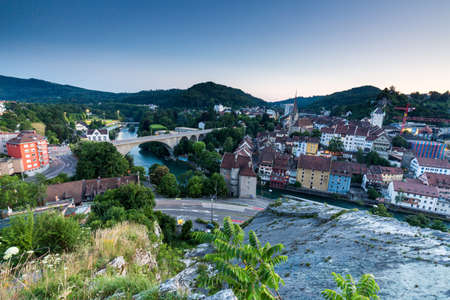 schweiz: BADEN, AARGAU, SWITZERLAND - JULY 1, 2015: View from Mountain Lagern to the city of Baden and river Limmat at sunset on July 1, 2015. Baden is a municipality in the Swiss canton of Aargau. Editorial