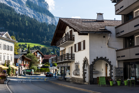 FLIMS, SWITZERLAND - SEPTEMBER 10, 2016: Exterior view of the old the old town part of Flims on September 9, 2016. Flims is a popular recreation area in the Swiss canton of Graubunden. Editorial