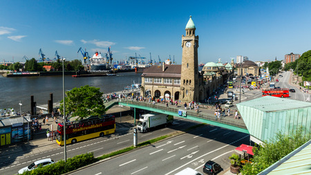 HAMBURG, GERMANY - JUNE 4, 2016: View of the St. Pauli Piers (German: St. Pauli Landungsbrucken) one of Hamburgs major tourist attractions on June 4, 2016. Its the largest landing place Hamburg. Editorial