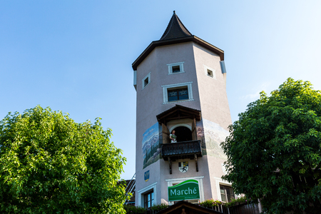 entertaining area: BAD RAGAZ, SWITZERLAND - SEPTEMBER 10, 2016: View of the Heidi Tower at the motorway resting area in Bad Ragaz on September 10, 2016. Every half hour is a pawn in a game theatre with Heidi.
