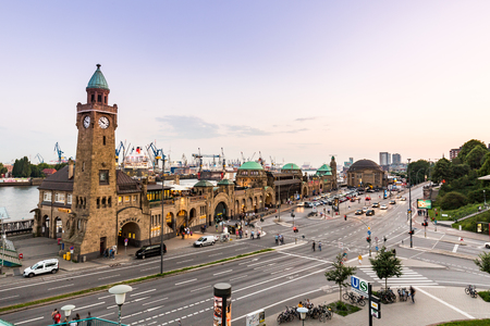 st pauli: HAMBURG, GERMANY - JUNE 3, 2016: View of the St. Pauli Piers (German: St. Pauli Landungsbrucken) one of Hamburgs major tourist attractions on June 3, 2016. Its the largest landing place Hamburg.