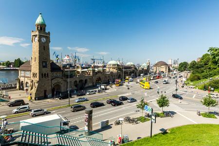 hubs: HAMBURG, GERMANY - JUNE 4, 2016: View of the St. Pauli Piers (German: St. Pauli Landungsbrucken) one of Hamburgs major tourist attractions on June 4, 2016. Its the largest landing place Hamburg. Editorial