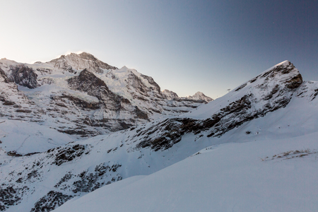 esfinge: View to the Jungfraujoch mountain peak on January 2017 Foto de archivo