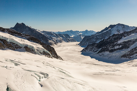 View to the Great Aletsch Glacier (Grosser Aletschgletscher) in January 2017