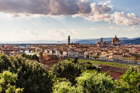 overlook: Florence cityscape overlook from Piazzale Michelangelo Stock Photo