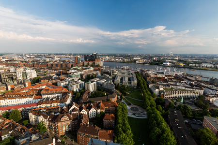 arial view: Overlook from the Michelin Tower to the old town part of Hamburg, Germany Stock Photo