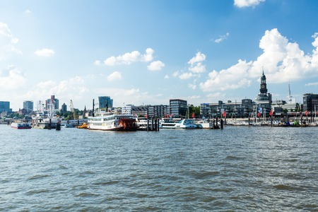 st pauli: HAMBURG, GERMANY - JUNE 4, 2016: View of the St. Pauli Piers (German: St. Pauli Landungsbrucken) one of Hamburgs major tourist attractions on June 4, 2016. Its the largest landing place Hamburg. Editorial