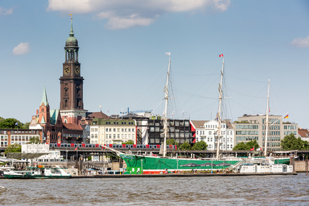 st pauli: HAMBURG, GERMANY - JUNE 6, 2016: View of the St. Pauli Piers (German: St. Pauli Landungsbrucken) one of Hamburgs major tourist attractions on June 6, 2016. Its the largest landing place Hamburg.