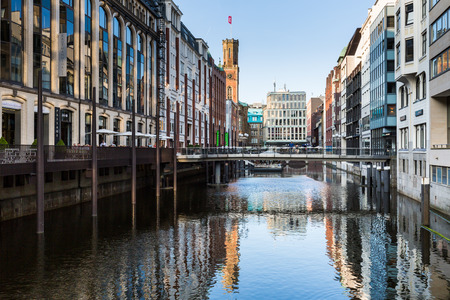 HAMBURG, GERMANY - JUNE 6, 2016: View of the canal Bleichenfleet and buildings along in Hamburg on June 6, 2016. This water chanel is in the middle of Hamburg between the Elbe River and Binnenalster. Editorial