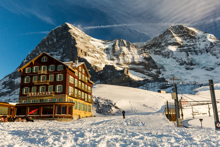 KLEINE SCHEIDEGG, SWITZERLAND - JANUARY 6, 2017: View of the Bellevue des Alpes Hotel on January 6, 2017. This resort is in the alps of canton Bern and famous for ski racing Lauberhornrennen.