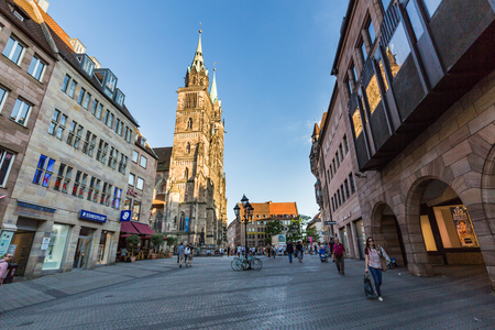 NURENBERG, GERMANY - JUNE 22, 2016: Exterior view of St. Lawrence church in the old town part of Nurnberg on June 22, 2016. It is one of the most important churches of the city of Nuremberg.