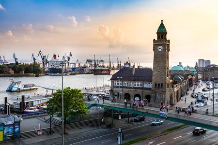 st pauli: HAMBURG, GERMANY - JUNE 7, 2016: View of the St. Pauli Piers (German: St. Pauli Landungsbrucken) one of Hamburgs major tourist attractions on June 7, 2016. Its the largest landing place Hamburg.