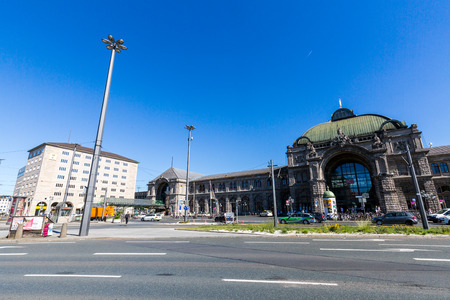 db: NUREMBERG, GERMANY - JUNE 23, 2016: View of Main Railway Station Square in the old town part of Nuremberg on June 23, 2016. It is the second-largest city in Bavaria, and the largest in Franconia. Editorial