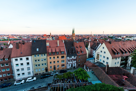 bayern old town: NUREMBERG, GERMANY - JUNE 22, 2016: Overlook from the Nuremberg Castle to the Nuremberg old town part at sunset on June 22, 2016. Nuremberg is the second largest city of Bavaria. Editorial
