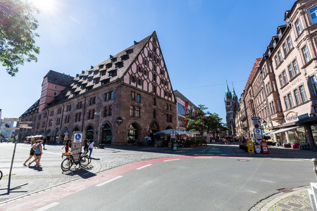 NUREMBERG, GERMANY - JUNE 23, 2016: View of the Mauthalle Building in the old town part of Nuremberg on June 23, 2016. It is the second-largest city in Bavaria, and the largest in Franconia. Editorial