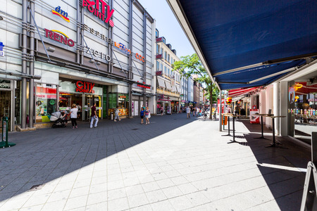 st german: NUREMBERG, GERMANY - JUNE 23, 2016: View of the shopping street Karolinenstrasse in the old town part of Nuremberg on June 23, 2016. Nuremberg is the second-largest city in Bavaria.