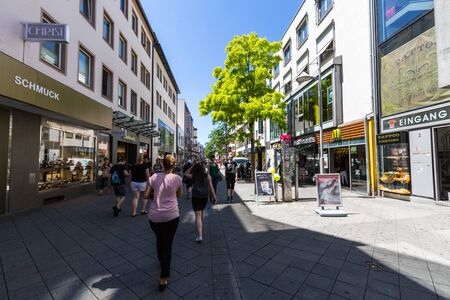 NUREMBERG, GERMANY - JUNE 23, 2016: View of the shopping street Karolinenstrasse in the old town part of Nuremberg on June 23, 2016. Nuremberg is the second-largest city in Bavaria.