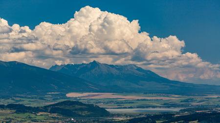 The Liptov region area overlook from Tlsta Hora Mountain in the Cutkovska Dolina Valley near Ruzomberok in Slovakia Stock Photo