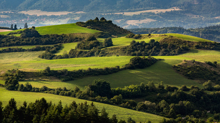 View of hills and meadows in the Slovakian region Liptov in summer Stock Photo