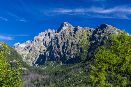 View of the mountain Lomnicky Stit in the High Tatras in Slovakia