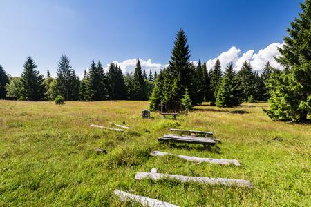 seating area: View of a outdoor church at Tlsta Hora Mountain in the Cutkovska Dolina Valley near Ruzomberok in Slovakia