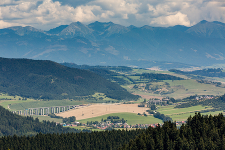 The Liptov region area overlook from Tlsta Hora Mountain in the Cutkovska Dolina Valley near Ruzomberok in Slovakia Stock Photo