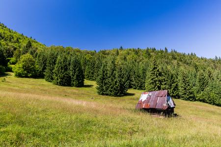 View of a cottage in the Slovakian nature park Velka Fatra near the city Ruzomberok