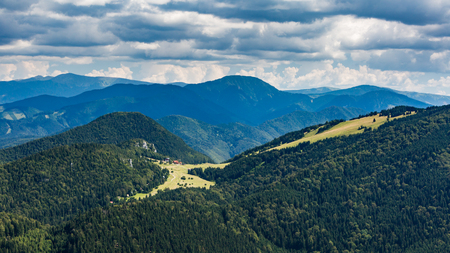 ruzomberok: View of the Malino Brdo ski resort in summer from Tlsta Hora Mountain in the Cutkovska Dolina Valley near Ruzomberok in Slovakia