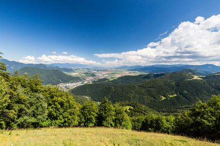 ruzomberok: The Liptov region area overlook from Tlsta Hora Mountain in the Cutkovska Dolina Valley near Ruzomberok in Slovakia Stock Photo